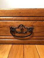 Antique Vintage Dresser Drawer Dovetail Tongue Groove cast ornate handle box