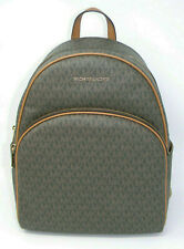 New Michael Kors Abbey Brown MK Signature Logo Gold Zip Large Backpack $398