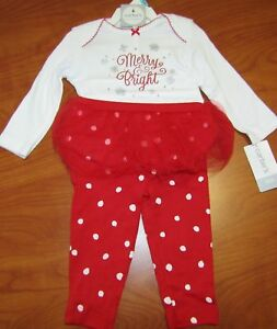 NEW CARTERS BABY GIRLS MERRY & BRIGHT HOLIDAY OUTFIT 2-PIECE SET NB 3M 6M