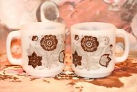 Set of 2 Vintage Glasbake Milk Glass Stackable Coffee Mugs Cups Brown Flowers