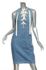 GUCCI Womens Blue Denim Sleeveless Front Lace Knee-Length Dress IT42 US6 M NEW