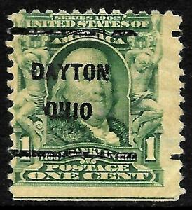 "Sc #300 ""Dayton OHIO"" Precancel 1901 Regular 1 Cent Franklin US 18A66"