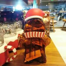 New Starbucks Christmas Glass Straw Cup Gingerbread Man Shaped Heat Resistant