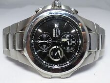 Seiko Chronograph Alarm Date Stainless Steel 7T62 Mens Watch - Works