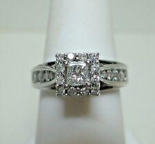 14K White Gold Princess Cut Diamond Engagement Ring -Sz 5.5 Estate Jewelry #1579