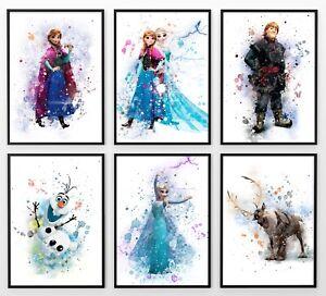 Frozen Print Watercolour Elsa Anna Disney Wall Art Childrens Bedroom A3 A4 A5