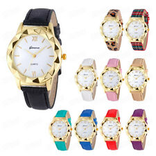 Geneva Fashion Womens Watches Gold Dial Analog Leather Casual Quartz Wrist Watch