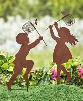 Children Silhouette Chasing Boy Girl Yard Garden Metal Stake Rustic Decor 20''H