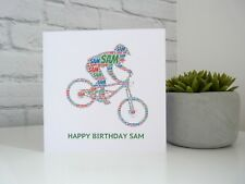 Personalised Mountain Biker Birthday Card, Downhill Mountain Biker Card