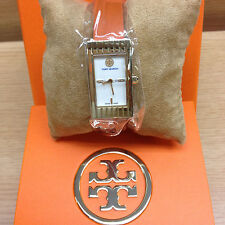 NWB Tory Burch TRB2003 buddy signature Watch gold plated 31x17 mm 100% AUTHENTIC