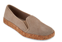 Isaac Mizrahi Perforated Suede Slip On Cork Sneakers