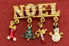 Charms Brooch Pin 1.5� Noel with Dangling Enamel Christmas