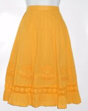 Bohemian Cafe Ladies Embellished Ruffle Hemline Boho Skirt Mustard Medium (M)
