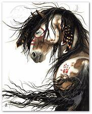 MM46 Majestic Horse Spirit Feathers Pinto - Hand Signed Bihrle Art Print 16x20