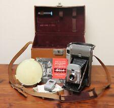 Vintage Polaroid Highlander Folding Land Camera Model 80 w/ Case, Flash & Meter