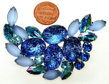 VTG 50'S ELSA SCHIAPARELLI BLUE GLASS LAVA ROCKS BROOCH PIN