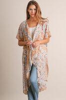 Umgee Floral Print Chiffon Loose Shawl Kimono Cardigan Top Cover up Shirt Blouse