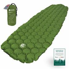 Inflatable Outdoor Sleeping Bag Pad w/ Comfy Honeycomb Design for Camping & More
