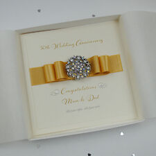 Luxury Golden 50th Wedding Anniversary Personalised Handmade Boxed Gold Card