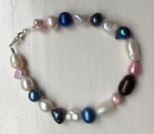 "Blue, Pink, White, Purple Freshwater Pearl 8"" Bracelet with 925 Silver Clasp"