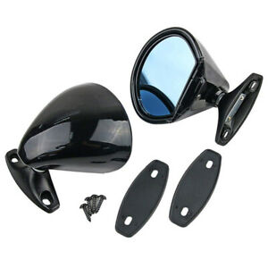 2PCS Black Vintage Universal Car Door Wing Side View Mirror Replacement ABS