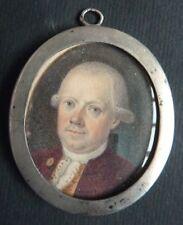Peinture miniature du 18e siècle Cadre  ARGENT massif portrait d'homme painting