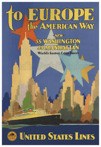 United States Lines to Europe – Vintage 1930's Ocean Liner Poster