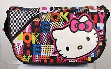"Hello Kitty Face Messenger Bag FULL SIZE Girls LARGE Bag with 15"" laptop Sleeve"