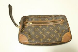 Authentic Louis Vuitton  Monogram Marly Dragonne GM Clutch Bag #7454