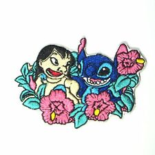 Disney's Lilo & Stitch in a bed of Flowers Embroidered Iron/Sewn On Patch 3.5""