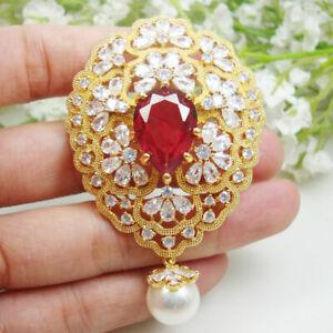 Elegant Red Flower Cluster Pearl Pendant Brooch Pin Zircon Crystal