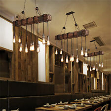 Retro Wood Industrial Pendant Light Bar Hanging Ceiling Lamp Rustic Chandelier