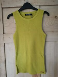 Karen Millen stretch ribbed vest top, lime green (size S) - NWT