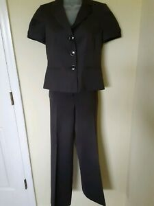 ANN TAYLOR Business Suit Dark Gray SZ 2P Jacket, SZ 00P Pant Short sleeves EUC