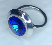 Beautiful Vintage Silver Tone Blue Crystal Stone Sarah Coventry Adjustable Ring