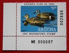 Clearance: (Az05) 1991 Arizona Waterfowl Stamp - plate # single