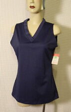 70s Navy blue poly Vee neck top Nos M 40 bust