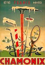 Retro Vintage Chamonix arte cartel impresión de viaje deportiva A3