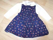 Size 24 Months McKids Jumper Dress with One Piece Romper Navy Print Euc