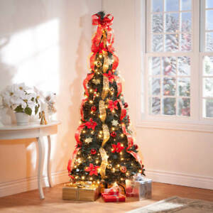 6-Foot Fully Decorated Red & Gold Poinsettia Pull-Up Collapsible Christmas Tree