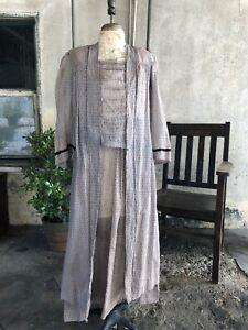 Antique 1910s Grey Brick Print Dress Cutaway Two Piece Tiered Edwardian Vintage