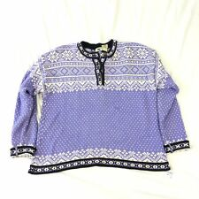 Womens L LL Bean Sweater Heavy Pullover Birds Eye Purple Norwegian Cotton