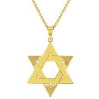 """18k Gold Plated Religious Judaism Jewish Star of David Necklace Pendant 19"""""""