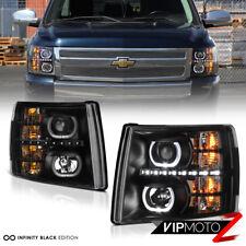 2007-2013 Chevy Silverado 1500 2500HD 3500HD Black Halo LED Projector Headlights