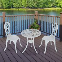 3pcs Café Bistro Set Patio Table Chair Garden Aluminum White