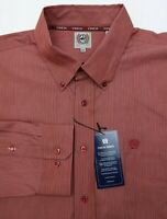 Cinch Long Sleeve Button Up Western Shirt Mens XL Regular Red New With Tags
