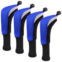 4pcs/set Golf Hybrid Club Head Cover Long Neck Headcover Interchangeable Blue