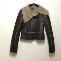 Forever 21 Brown Faux Leather Moto Jacket Womens Small Sherpa Lined Msg a Button