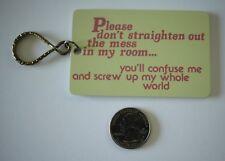 Vtg 1980 Paula's Keyrings Don't Clean My Room Hard Plastic Key Chain #20666