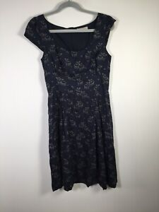 Great Plains navy blue deer print fit and flare dress size S sleeveless modal